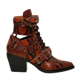 Chloe Python Embossed Rylee 60 Ankle Boots
