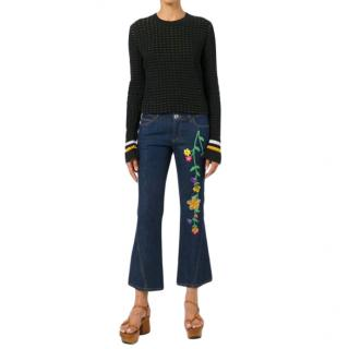 See by Chloe Floral Embroidered Crop jeans