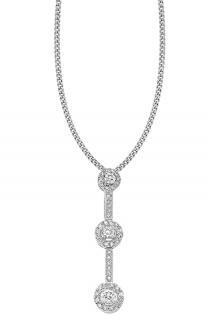 Carissima Gold 18ct White Gold Diamond Triple Cluster Pendant Necklace