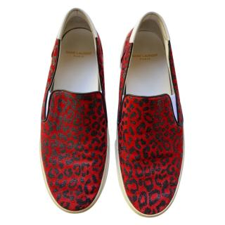 Saint Laurent Red Leopard Print Canvas Slip-On Sneakers