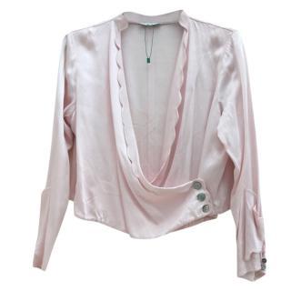 Rixo Pink Scalloped Wrap Top