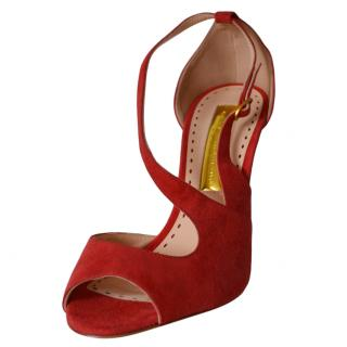 Rupert Sanderson Red Suede Sandals