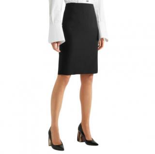Theory Black Stretch Wool Pencil Skirt