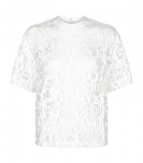 Chloe Lace Logo Embroidered Top in Iconic Milk