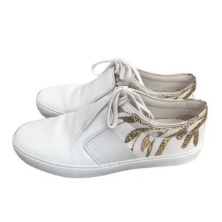 Chanel White & Gold Leather Sneakers