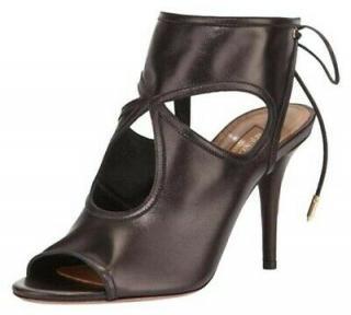 Aquazzura Black Leather Sexy Thing 85 Sandals