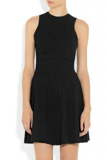 Theory Black Stretch Ribbed Knit Dress