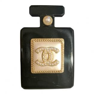 Chanel Black Enamel Perfume Bottle Faux Pearl Embellished Brooch