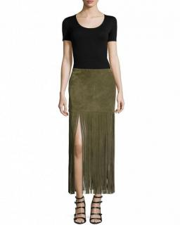 The Perfext Suede Khaki Fringed Mimi Skirt