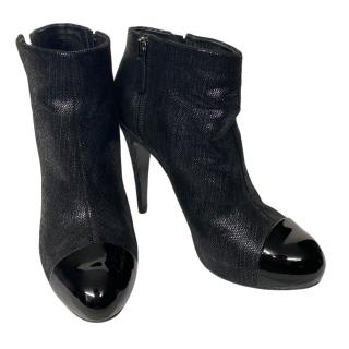 Chanel Black Patent Cap Toe Leather Ankle Boots