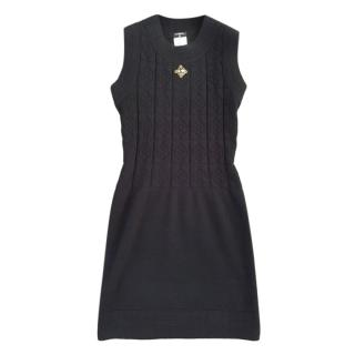 Chanel Wool Knit Embellished Sleeveless Dress