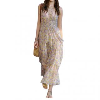 Chanel Printed Silk Chiffon Tiered Runway Midi Dress