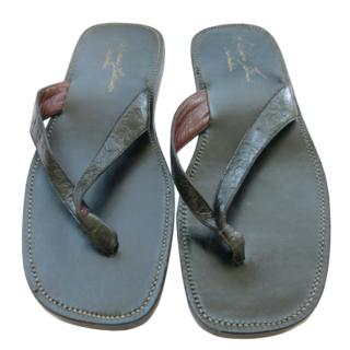 Silvano Lattanzi Crocodile Thong Sandals
