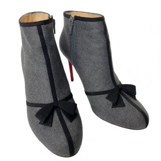 Christian Louboutin Grey Bow Detail Ankle Boots