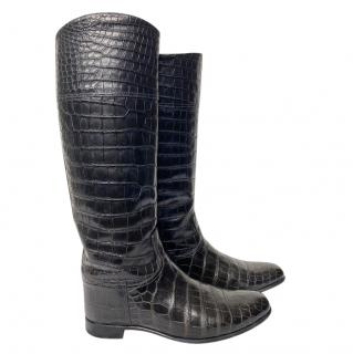 Hermes Black Crocodile Riding Boots