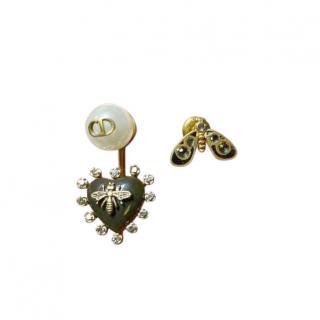 Dior Asymmetric Bee Heart Drop Earrings