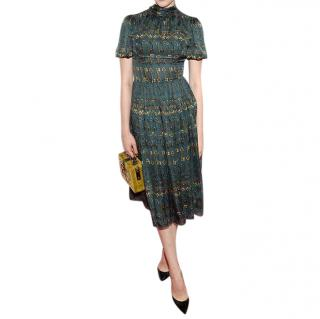 Dolce & Gabbana Bottle Green Key Print Silk High Neck Dress
