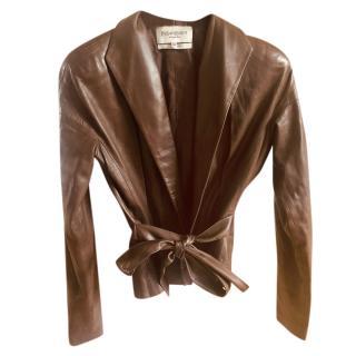 Yves Saint Laurent Vintage Brown Leather Wrap Jacket