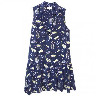 Chianti and Parker printed blue silk satin dress