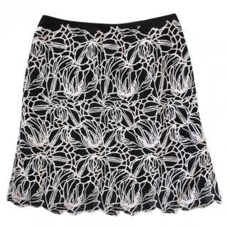 Giambattista Valli Black & White Embroidered Layered Skirt