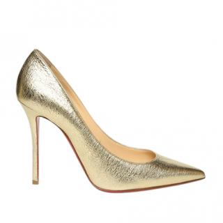 Christian Louboutin gold leather 10cms heeled pumps