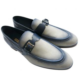 Zilli Natural/Blue Calfskin & Canvas Loafers