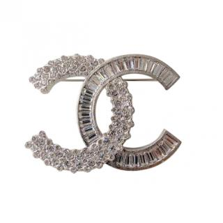 Chanel Silver Tone Baguette & Round Crystal CC Pin Brooch