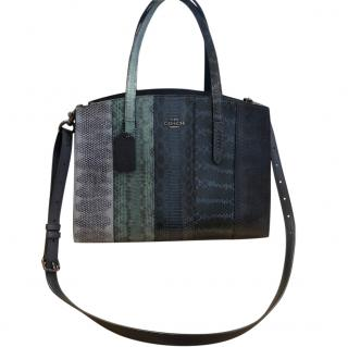 Coach Striped Snakeskin Print Navy Tote Bag