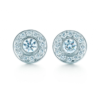 Tiffany & Co. Platinum Set Diamond Circlet Earrings