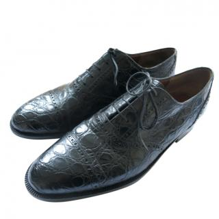Fratelli Rossetti Black Crocodile Leather Brogues