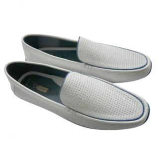 Zilli White Perforated Leather Loafers