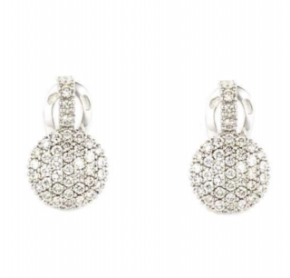 Bespoke 18k White Gold Pave Diamond Earrings