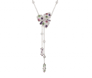 Cartier White Gold Diamond & Gemstone Flower Drop Necklace