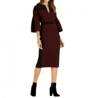Amanda Wakeley Berry Jacquard Shift Dress with Bell Sleeve