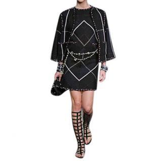 Chanel Blue/Black Geometric Tweed Skirt & Top