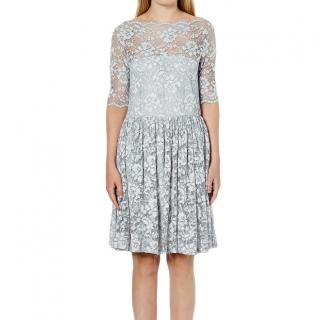 Ganni Ayame Lace Dress in Pearl Blue