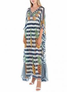 Dolce & Gabbana Striped Pineapple Print Kaftan Gown
