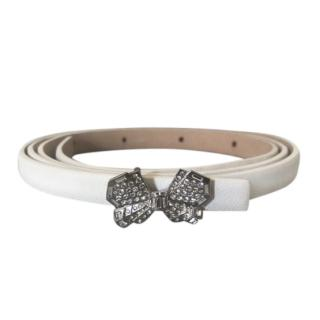 Chanel White Leather Slim Crystal Buckle Belt
