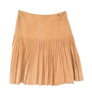 Chanel vintage beige lambskin leather pleated skirt