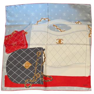 Chanel iconic bag print silk scarf