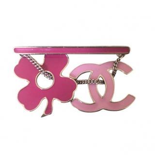 Chanel Pink Enamel Clover CC Pin Brooch