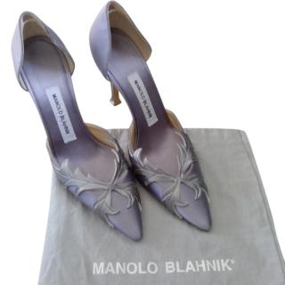Manolo Blahnik Embellished Grey Satin D'orsay Pumps