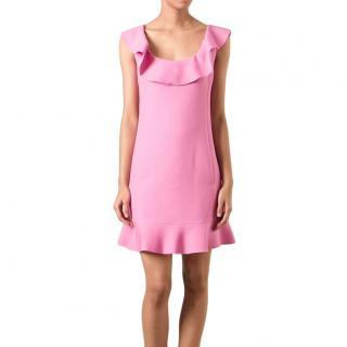 Valentino Pink Ruffled Wool Crepe Dress