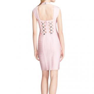 Herve Leger Pink Cut-Out Back Bandage Dress