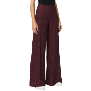 M Missoni Wide Leg Trousers in Burgundy
