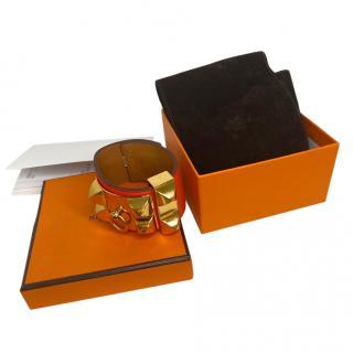 Hermes Rouge Casque Veau Epsom Leather  De Chien V2  Cuff