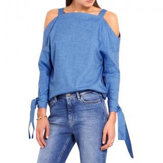 Tibi Blue Cold Shoulder Cotton Chambray Top