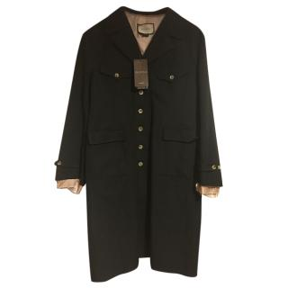 Gucci Runway Black Wool & Linen Coat with Embroidered back.