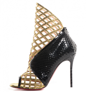 Christian Louboutin Watersnake Python Bougliona 100 Caged Booties
