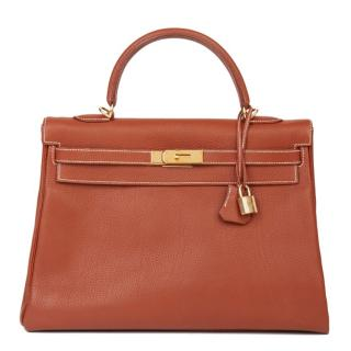 Hermes Togo Leather 32cm Kelly Bag Brique